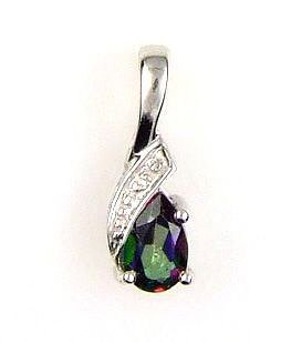 Natural .26ct Topaz Diamond Pendant Sterling Silver