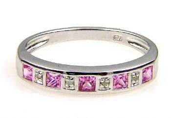 0.32ct Pink Sapphire Diamond Ring Sterling Silver