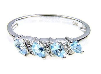 Genuine .33ct Aquamarine Diamond Ring Sterling Silver