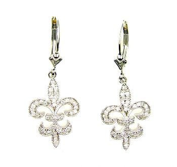 Natural .50ct Diamond Flower Earrings Sterling Silver