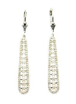 Genuine 1.00ct Diamond Dangle Earrings Sterling Silver