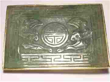 Old Grade A Jadeite Buckle, 14k YG