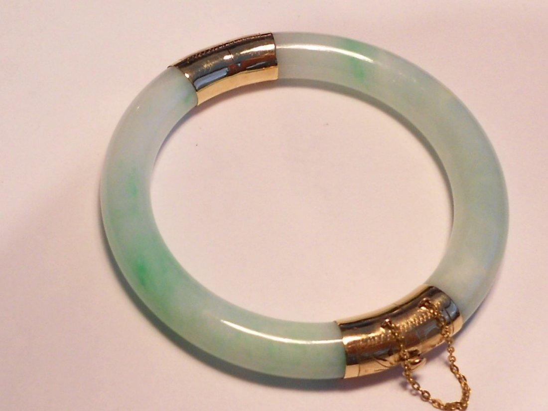 Grade A Jadeite Light green 2-section JadeBangle, 14k