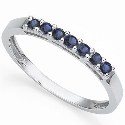 Genuine Sapphire band ring in 0.925 Silver