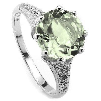 10mm/3.4CT Green Amethyst & Diamond Silver Ring