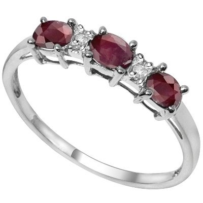 3x4mm/1.05CT Oval Ruby & diamond Silver Ring