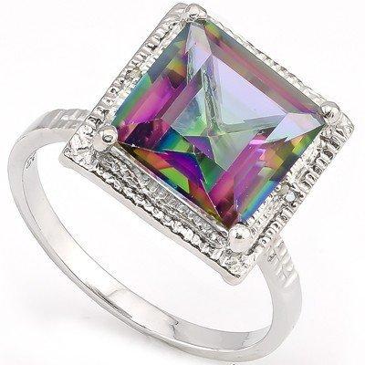 10mm/5CT Fancy Quartz & Diamond 0.925 Silver Ring