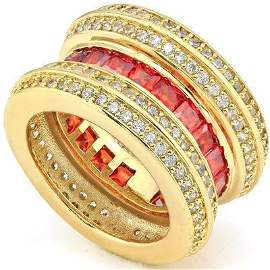 Created Red / White Sapphire 18k Gold Plated Ring