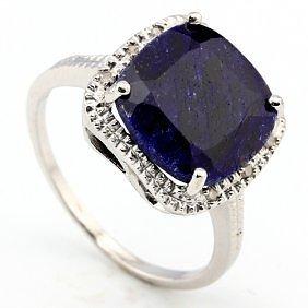 12MM CUSHION SAPPHIRE & DIAMOND 0.925 SILVER RING