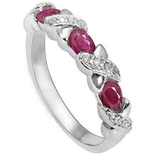 Genuine Ruby (0.66CT) & Diamond Silver Ring