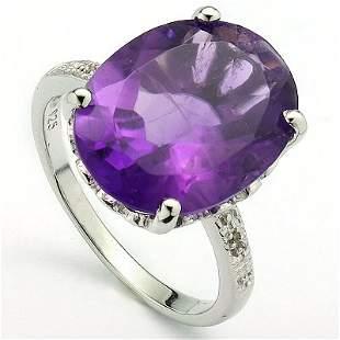 Big 12x16mm/6.9CT Amethyst & Diamond Silver Ring