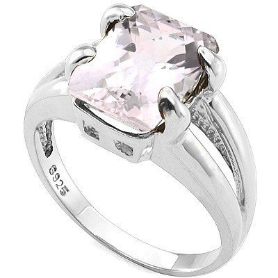 Winsome 8x10mm Pink Amethyst, Diamond Silver Ring