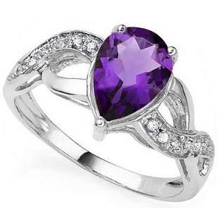 Beautiful Pear Cut Amethyst & Diamond Silver Ring