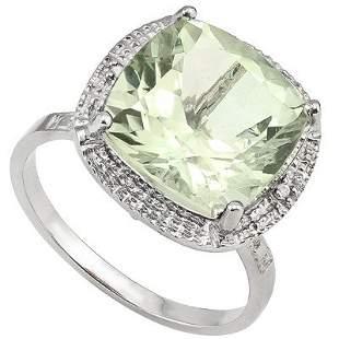 Striking12mm Green Amethyst & Diamond Silver Ring