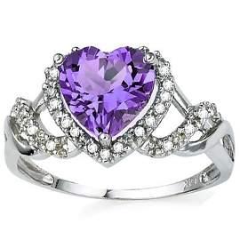 8mm/2CT Lavender Amethyst & Diamond Silver Ring