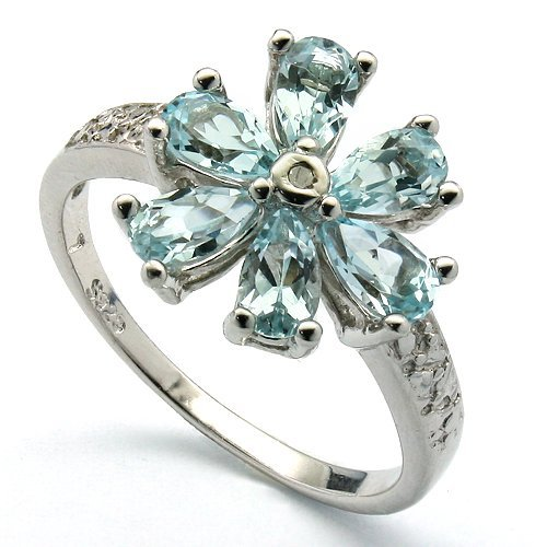 Beautiful Topaz & Diamond 0.925 Silver Ring