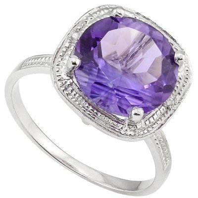 11mm Round Amethyst& Diamond 0.925 Silver Ring
