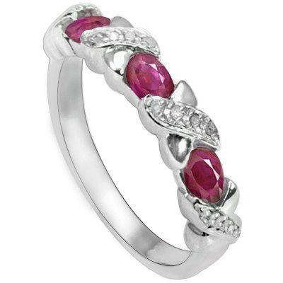 Genuine Ruby (0.66CT) & Diamond Silver Ring