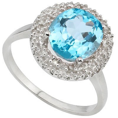 7x9mm/2.2Ct Oval Blue Topaz & Diamond Silver Ring