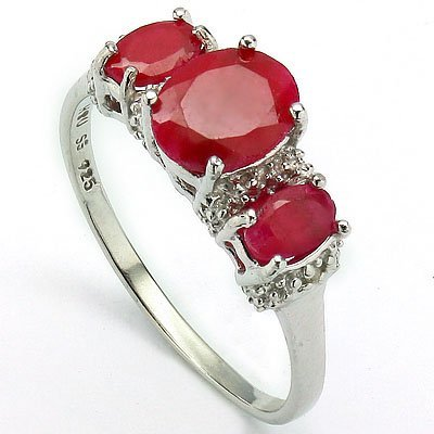 Lucious Oval Ruby and Diamond in Silver Ring