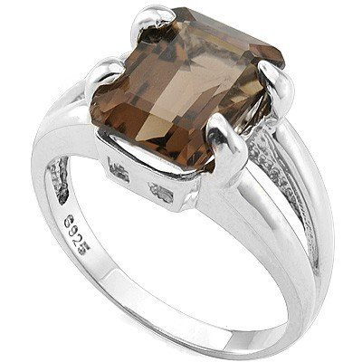 Charming 8x10mm Smoky Topaz, Diamond Silver Ring