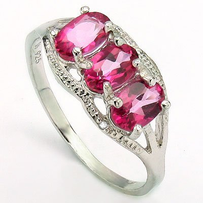4x6mm/3pcs Oval Pink Topaz, Diamond Silver Ring