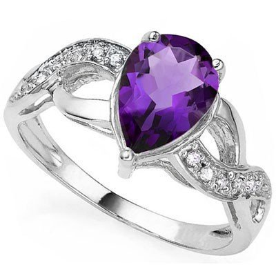Beautiful Pear Cut Amethyst & Diamond Silver Ring