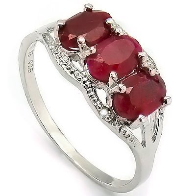 4x6mm/3pcs Oval Ruby, Diamond 0.925 Silver Ring