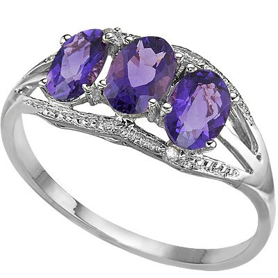 4x6mm Oval Amethyst, Diamond 0.925 Silver Ring