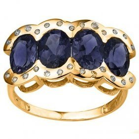 Oval Sapphire & Diamond in 10K Gold Ring-Size 7