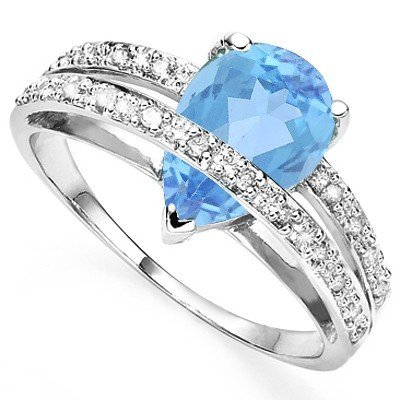 Delight Pear Topaz & Diamond 0.925 Silver Ring