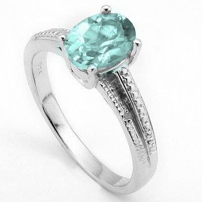 6x8mm Sky Blue Topaz & Diamond Silver Ring