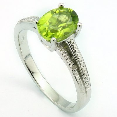 6x8mmLime Green Peridot & Diamond Silver Ring