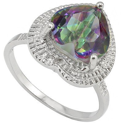Heart 10mm Fancy Quartz & Diamond Silver Ring