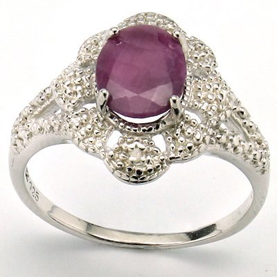 Nice 7x9mm Oval Ruby & Diamond 0.925 Silver Ring