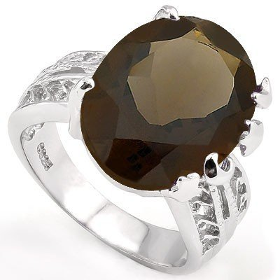 Big 13x18mm/13CT Smoky Topaz Vintage Silver Ring