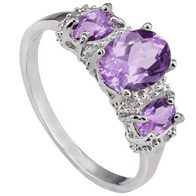 Natural Oval 2CT Amethyst & Diamond Silver Ring