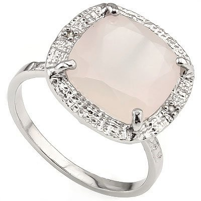 Sparkling 6ct Rose Quarts & Diamond Silver Ring