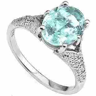 Stunning 8x10mm Blue Topaz & Diamond Silver Ring