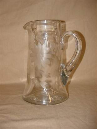 Crystal etched water pitcher