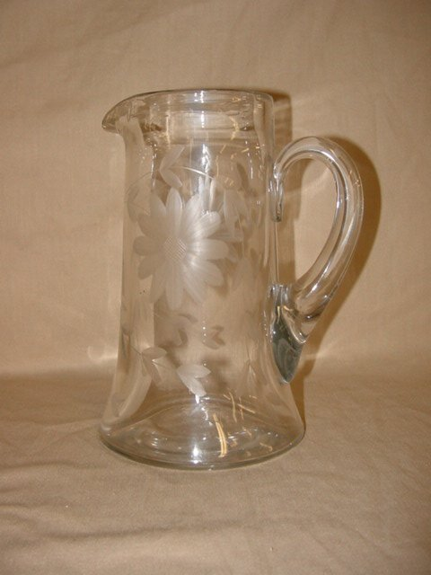 8008: Crystal etched water pitcher