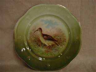 Hand painted bird game plate