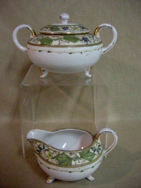 112: Hand-painted Nippon creamer & sugar