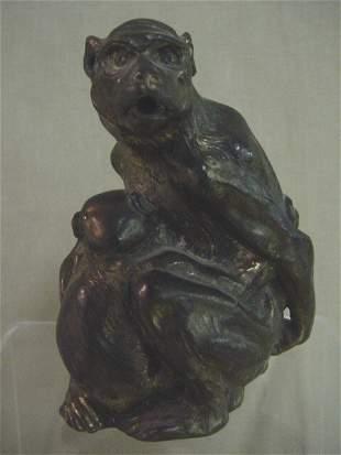 Metal monkey incense burner