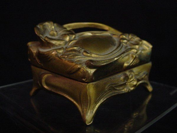 Gold color metal jewelry box