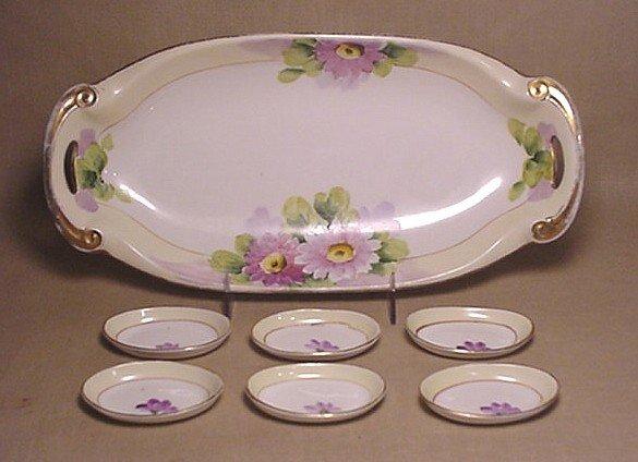 705: Six Noritake hand-painted salt dips and dish