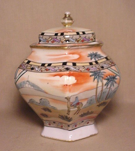 710: Hand-painted Nippon covered jar