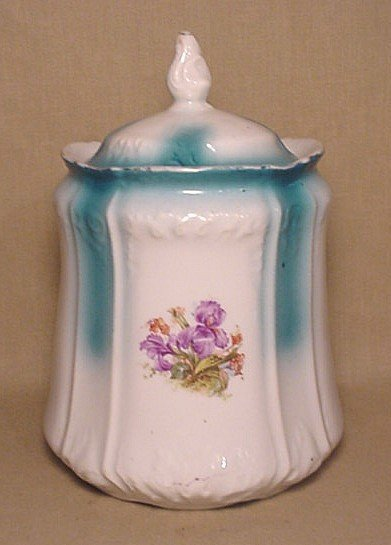 711: Old china jar with purple flower design