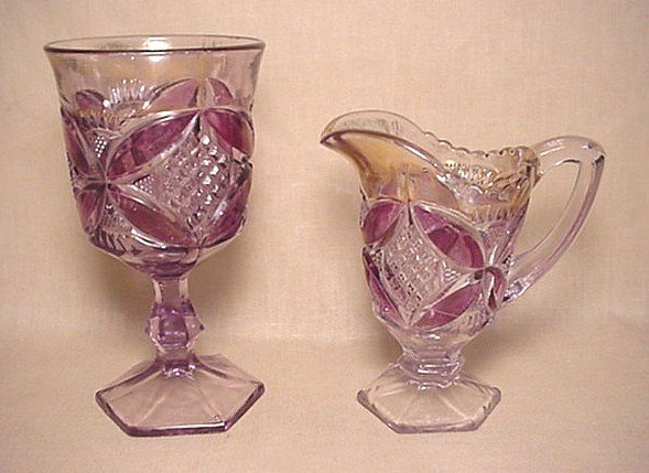 722: Purple old pattern glass goblet and creamer