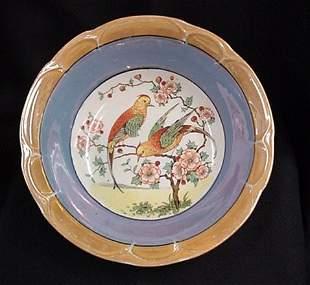 Lovebirds pattern serving bowl signed Germany